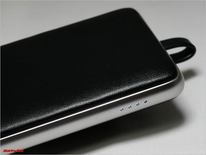 Tronsmart Prime 10000のバッテリー残量インジケータは4段階表示となっているので1つのランプで約2500mAhとなります。
