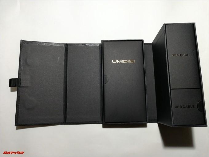 UMIDIGI S2の箱は展開できるタイプで非常に高品質な外箱です