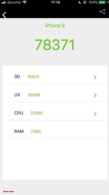 iPhone 6(iOS 11.0.3)二台目の実機AnTuTuベンチマークスコアは総合が78371点、3D性能が16502点。