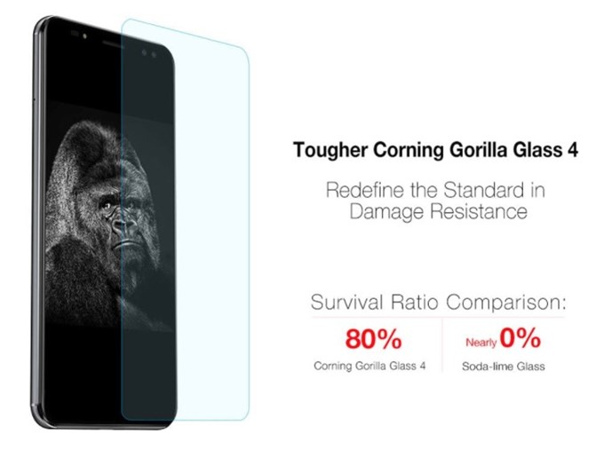 Ulefone Power 3は傷に非常に強いgorilla Glass 4を採用しています。