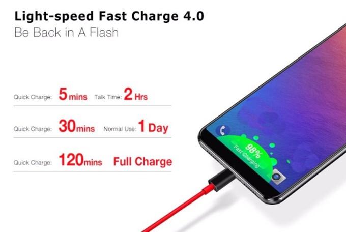 Ulefone Power 3は独自の超高速充電に対応することで6080mAhを2時間で充電できてしまう