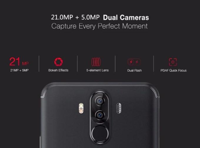 メインカメラは2100万画素+500万画素のダブルレンズカメラ。を搭載しています