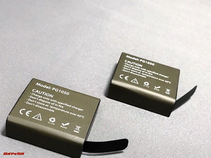EKEN H9sのバッテリーは標準で2つ付属しています。