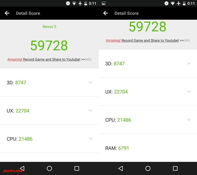 Nexus 5(Android 6.0.1)実機AnTuTuベンチマークスコアは総合が59728点、3D性能が8747点。