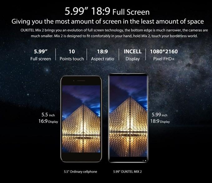 OUKITEL MIX 2は18:9ディスプレイを採用しているので16:9の製品よりも横幅が狭く大画面でも持ちやすくなってます