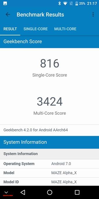 MAZE Alpha XのGeekbench4スコアはシングルコアが816でマルチコアは3424でした。
