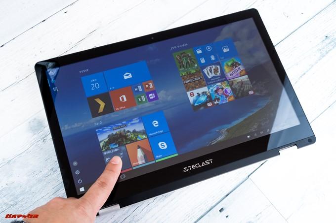 Teclast F6 Proはタッチパネルを採用。Windows 10はタブレットモードを利用できるので直感的な操作が可能です。