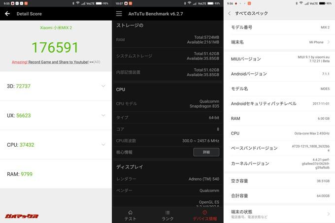 iaomi Mi Mix 2(Android 7.1.1)実機AnTuTuベンチマークスコアは総合が176591点、3D性能が72737点。