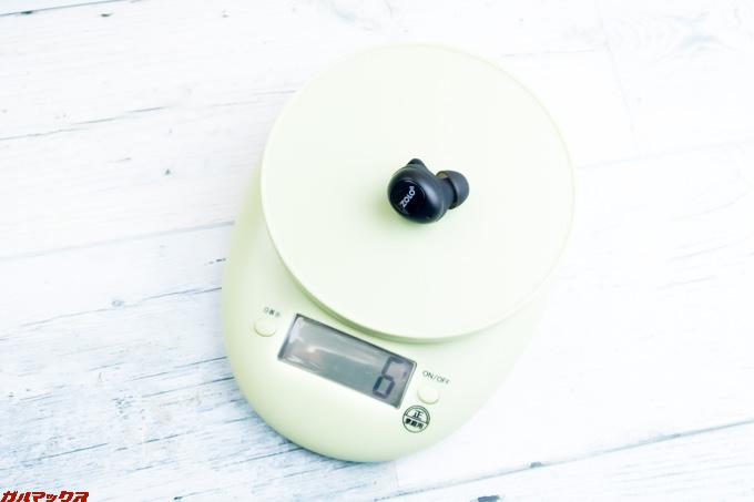 Zolo Liberty+ 2の重量は片側で6gと一般的な重量です。