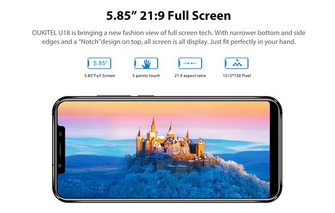 Oukitel U18は21:9の縦長ディスプレイを採用しているので、大画面ながら持ちやすいです