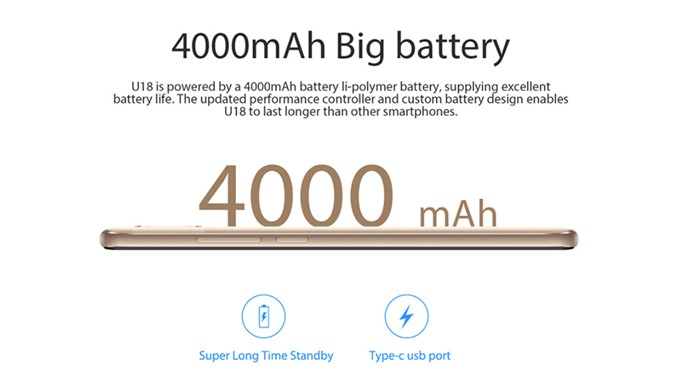 Oukitel U18は4000mAhの大容量バッテリーを搭載しています