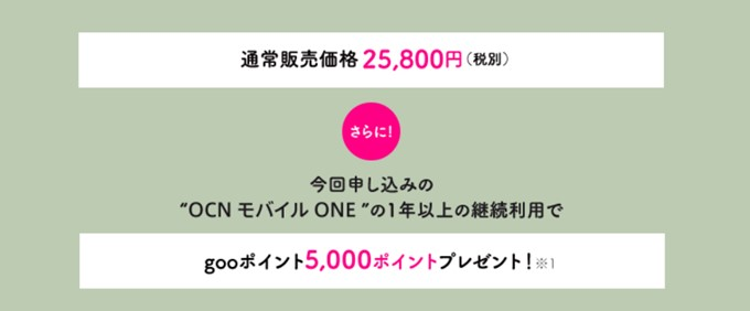 gooスマホ「g08」の通常価格は25800円