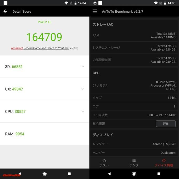 Pixel 2 XL(Android 8.0.0)実機AnTuTuベンチマークスコアは総合が164709点、3D性能が66851点。