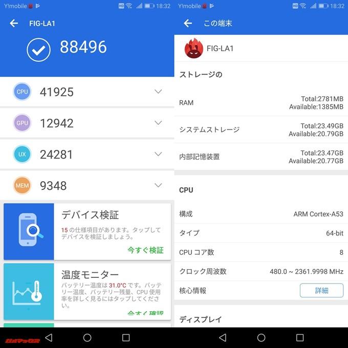 HUAWEI nova lite 2(Android 8.0.0)実機AnTuTuベンチマークスコアは総合が88496点、3D性能が12942点。