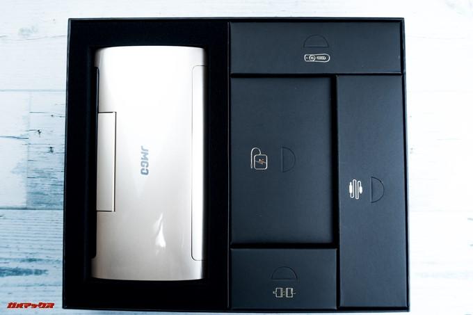 JMGO M6 Portable DLP Projectorに付属するアクセサリー類は綺麗に箱ごとに梱包されています