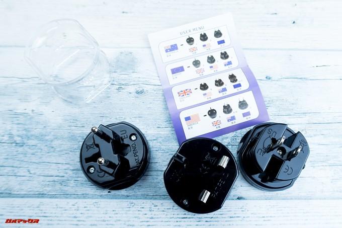 JMGO M6 Portable DLP Projectorには3種の変換プラグが同梱されていました