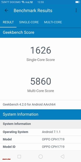 OPPO R11sのGeekbench 4スコアはシングルコア性能が1626、マルチコア性能が5860でした。