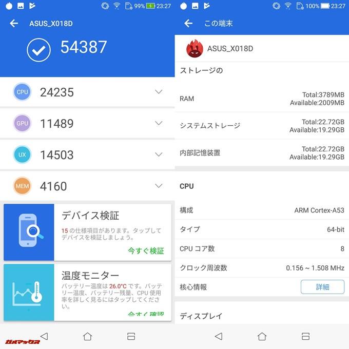 ZenFone Max Plus (M1)(Android 7.0)実機AnTuTuベンチマークスコアは総合が54387点、3D性能が11489点。