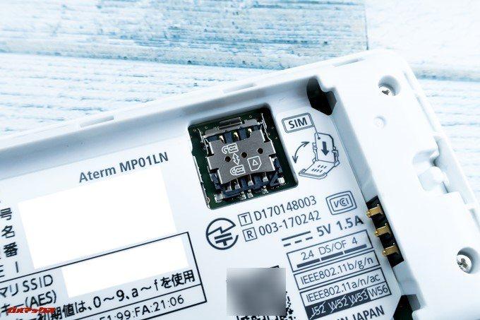 Aterm MP01LNのSIMスロットは起こして挿入するタイプ