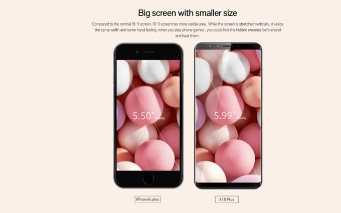 CUBOT X18 Plusの18:9ディスプレイは横幅がスマートなので、大画面でも持ちやすいというメリットがあります。