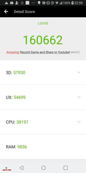 LG V30+/LGV35(Android 8.0.0)実機AnTuTuベンチマークスコアは総合が160662点、3D性能が57930点。