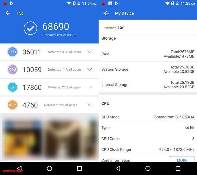Leagoo T5c(Android 7.0)実機AnTuTuベンチマークスコアは総合が68690点、3D性能が10059点。