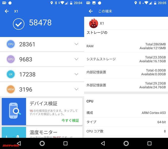 SHARP Android One X1(Android 8.0.0)実機AnTuTuベンチマークスコアは総合が58478点、3D性能が9683点。