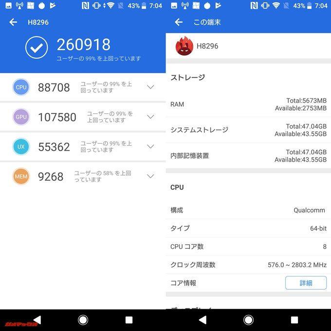 SONY Xperia XZ2(Android 8.0)実機AnTuTuベンチマークスコアは総合が260918点、3D性能が107580点。