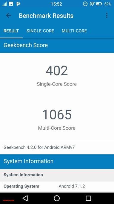 FREETEL Priori 5で測定したGeekbench 4のスコアはシングルコア性能が402点、マルチコア性能が1065点でした。