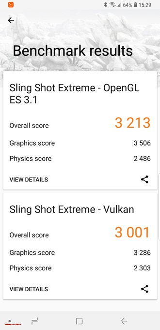Galaxy S9の3DMarkのスコアはSling Shot Extreme - OpenGL ES3.1が3213点、Sling Shot Extreme - Vulkenが3000点。