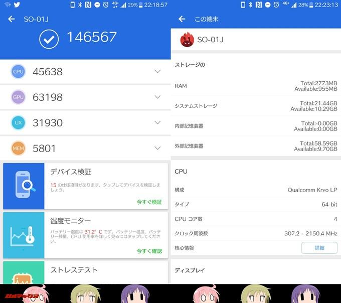 Xperia XZ(Android 7.0)実機AnTuTuベンチマークスコアは総合が146567点、3D性能が63198点。