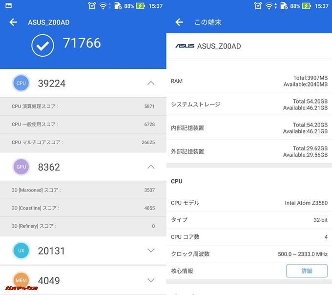 Zenfone 2/4GB版(Android 5.0.1)実機AnTuTuベンチマークスコアは総合が71766点、3D性能が8362点。
