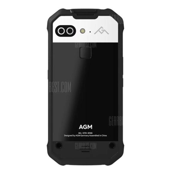 AGM X2 SEの背面は上部の1/4がシルバー、下部がブラックのツートンカラーです。カメラは横並びのダブルレンズカメラ、背面中央上部には指紋認証ユニットも備わっています。