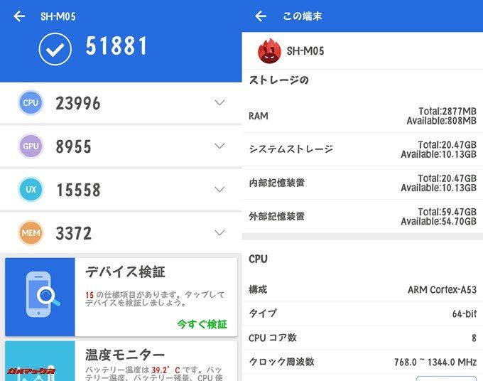 SHARP AQUOS sense lite SH-M05(Android 7.1.2)実機AnTuTuベンチマークスコアは総合が51881点、3D性能が8955点。