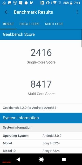 Xperia XZ2 Compactのスコアはシングルコア性能が2416、マルチコア性能が8417でした!