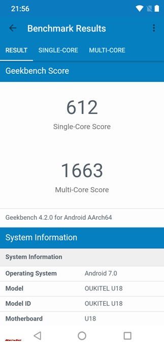 Geekbench 4はシングルコア性能が612、マルチコア性能が1663でした!