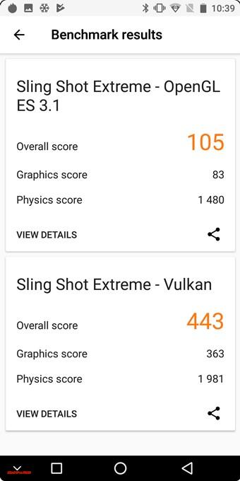 KOOLNEE K1 Trioの3DMarkはSling Shot Extreme -OpenGL ES3.1が105、Sling Shot Extreme – Vulkenが443でした。