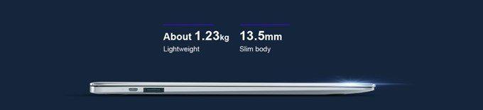 Teclast F7の重量は14型で1.23kgと最軽量級