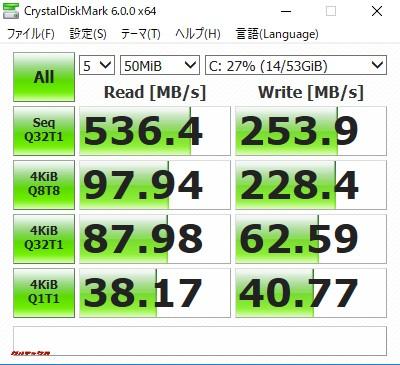 VORKE V5 PlusのSSDは読込が500MBを超えています。凄い