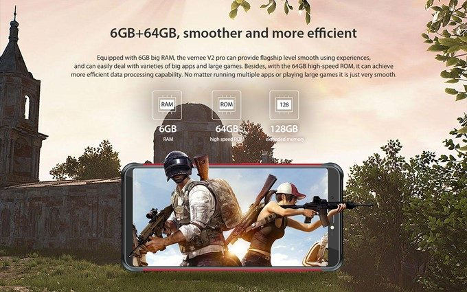 Vernee V2 Proは大容量な6GBメモリと64GBの保存容量を搭載しているので基本性能も高いです。
