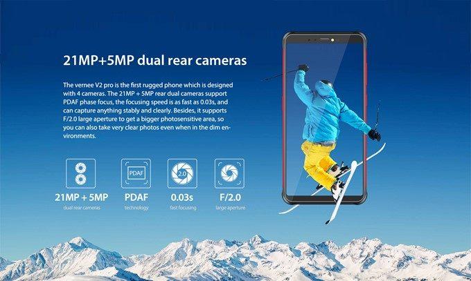 Vernee V2 Proはアウトカメラもインカメラもダブルレンズカメラを搭載しています。