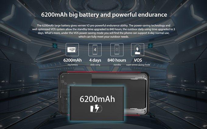 Vernee V2 Proは大容量な6200mAhのバッテリーを搭載しています!