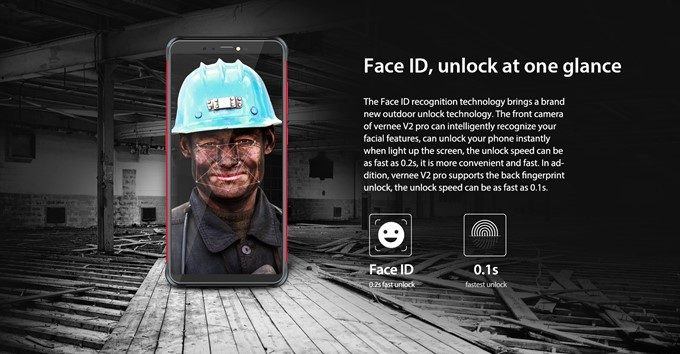 Vernee V2 Proは顔認証にも対応