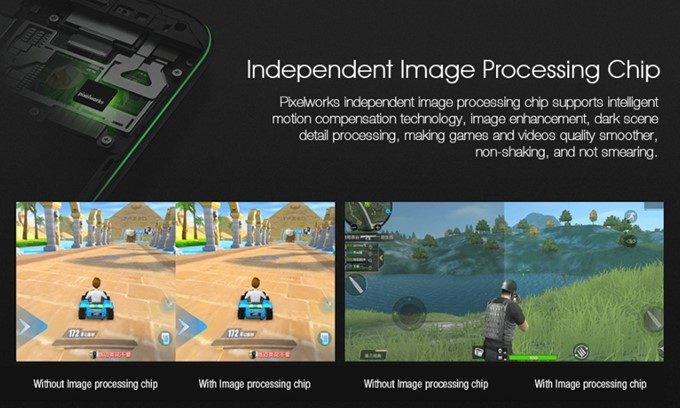 Xiaomi Black Shark Gaming Phoneはイメージセンサーを搭載しているのでディテールを崩さない美しい描写でゲームが楽しめる