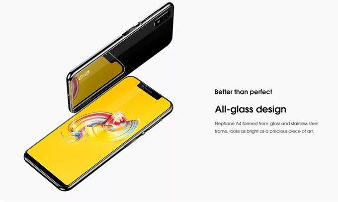 Elephone A4は背面にステンレス+ガラスコーティングデザインを採用しています。