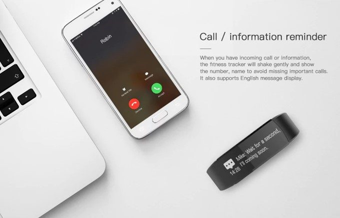 Lenovo HX06 Smart Braceletはスマホの着信などを知らせてくれる通知機能が備わっています。