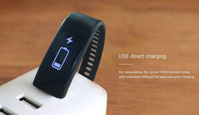 Lenovo HX06 Smart Braceletはケーブル不要で充電可能です。