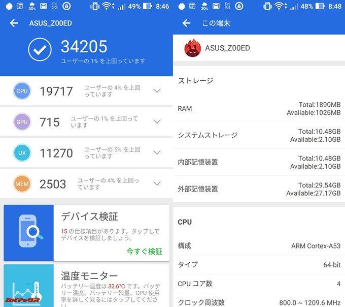 ASUS ZenFone 2 Laser(Android 6.0.1)実機AnTuTuベンチマークスコアは総合が34205点、3D性能が715点。