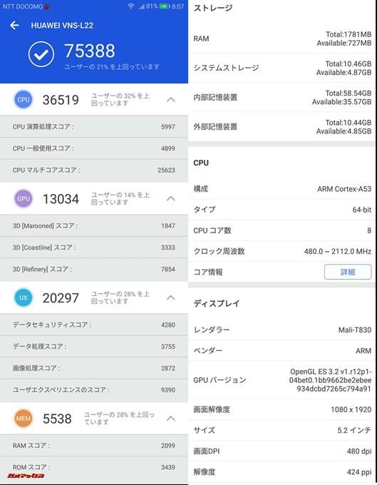 HUAWEI P9 lite(Android 7.0)実機AnTuTuベンチマークスコアは総合が75388点、3D性能が13034点。