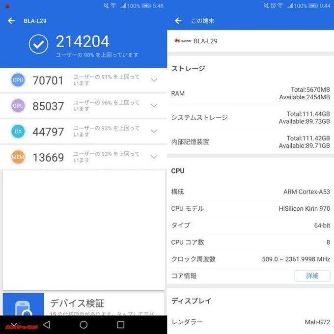 Huawei Mate 10 Pro(Android 8.0.0)実機AnTuTuベンチマークスコアは総合が214204点、3D性能が85037点。